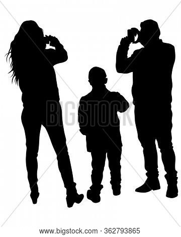 Woman and man holds a camera in her hand. Isolated silhouettes of people on a white background