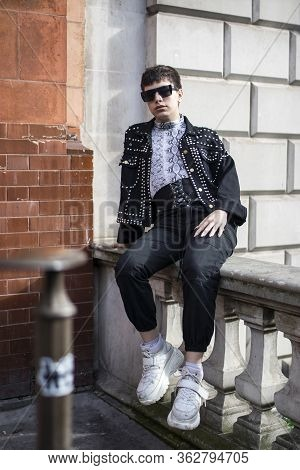 London, Uk - 15 January, 2020, Fashionable People On The Street . Street Style. Young Man A Young Ma