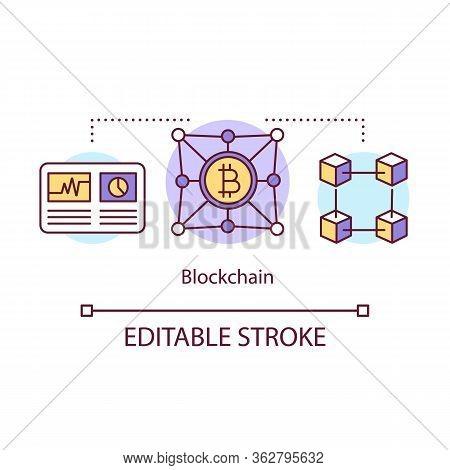 Blockchain Concept Icon. Transaction Recording Idea Thin Line Illustration. Cryptocurrency Business.