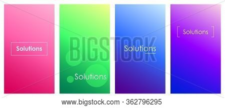 Solutions Social Media Stories Duotone Template Set. Gradient Creative Ideas, Innovations Web Banner