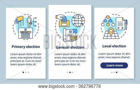 Elections Onboarding Mobile App Page Screen With Linear Concepts. Electing Local, General Political