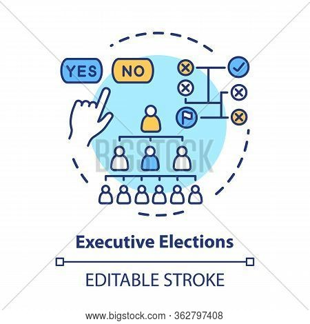 Election Concept Icon. Executive Elections Idea Thin Line Illustration. Authority Hierarchy. Public