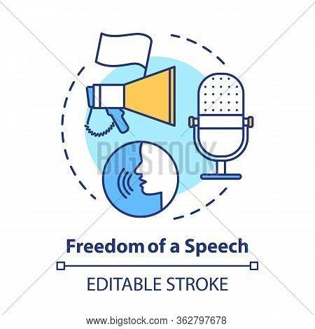 Elections Concept Icon. Propaganda. Freedom Of Speech Idea Thin Line Illustration. Expressing Opinio