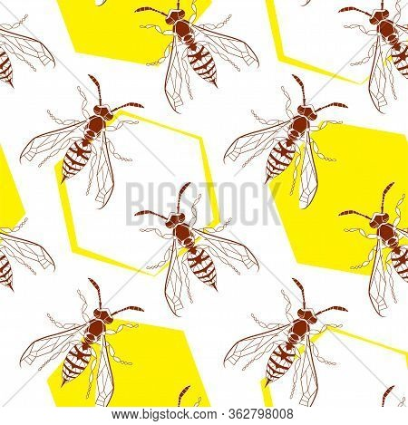 Wasp Geometric Insect Seamless Pattern. Dangerous Design For Textile, Fabric Texture. Yellow Bugs Is