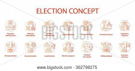 Election Concept Icons Set. Political Campaign And Propaganda Idea Thin Line Illustrations. Presiden