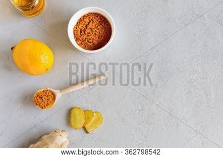 On A White Background Is A Set Of Products For Making Drinks To Support The Immune System And Preven