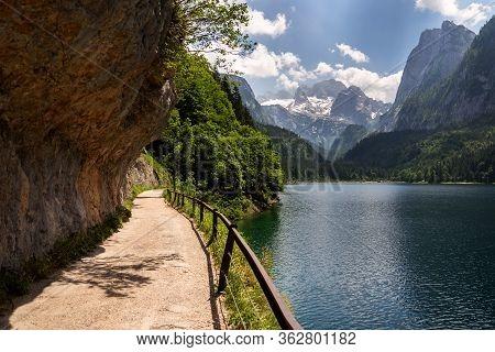 Vorderer Gosausee Lake Near Gosau With Melting Glacier In Background, Austria, Sunny Summer Day