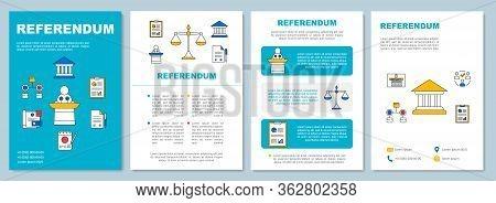 Referendum Brochure Template Layout. Popular Vote. Flyer, Booklet, Leaflet Print Design, Linear Illu