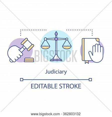 Judiciary Concept Icon. Law Idea Thin Line Illustration. National Court Of Judicial System. Applicat