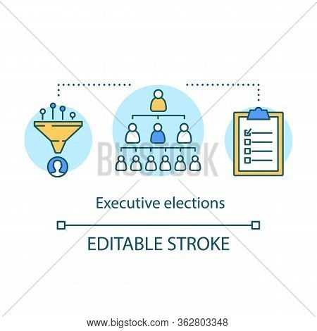 Executive Elections Concept Icon. Executive Branch, Authority Hierarchy Idea Concept Icon. Thin Line