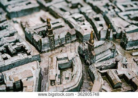 Munich, Germany - 9 March 2018: Munich Bronze Miniature 3d Map. Bronze Map, Model Of The City. Minia