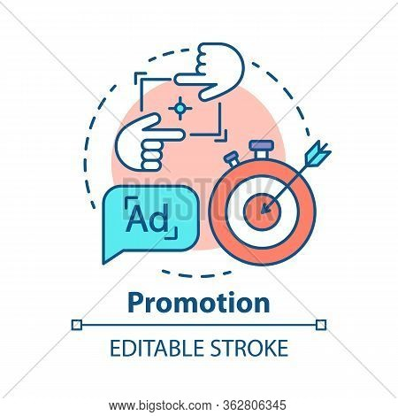 Promotion Concept Icon. Marketing, Pr Campaign Idea Thin Line Illustration. Target Advertising. Cust
