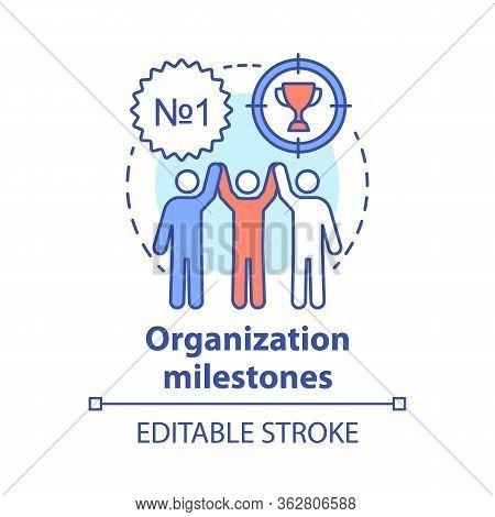 Organization Milestones Celebrating Concept Icon. Company Goals, Aspirations And Achievements Idea T