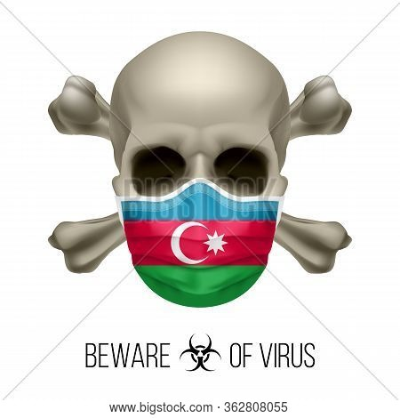 Human Skull And Surgical Mask In The Color Of National Flag Azerbaijan. Mask In Form Of The Azerbaij