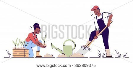 Couple Gardening Together Flat Vector Illustration. African American Farmers Planting Flowers Cartoo