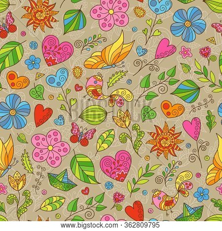 Cartoon Spring Seamless Pattern Of Doodles Flowers, Butterflies And Leaves On Brown Backdrop. Cute C