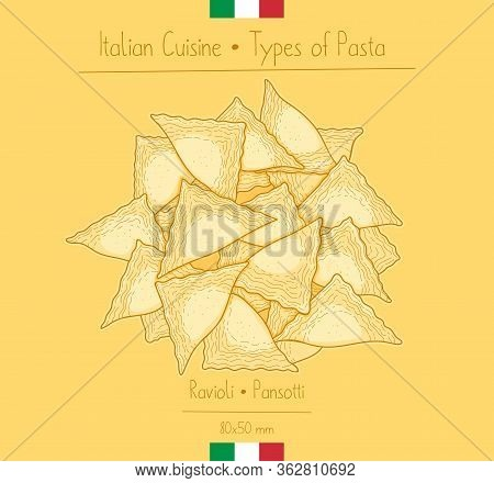 Italian Food Triangular Shape Ravioli Pasta Aka Pansotti, Sketching Illustration In The Vintage Styl