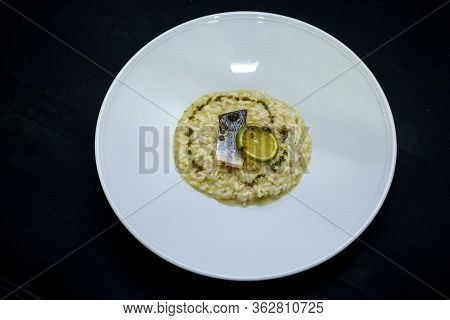 Risotto With Sea Bass, Italian Food. Sea Bass Fillet, Risotto