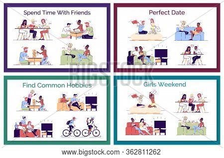Friends Leisure Flat Vector Concept Illustrations Pack. Perfect Date. Romantic Couples Having Fun. B