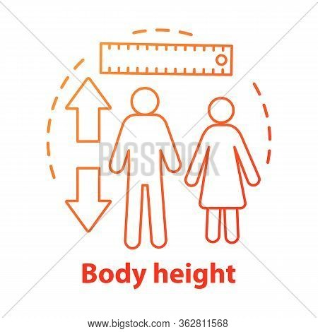 Body Height Monitoring Concept Icon. Checking Body Growth With Measuring Tools Idea Thin Line Illust