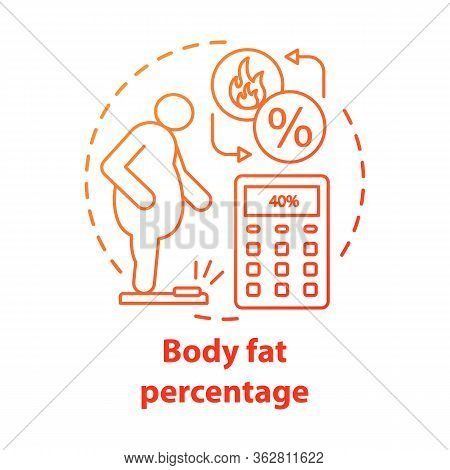 Body Fat Percentage Control Concept Icon. Patient With Extraweight Idea Thin Line Illustration. Pers