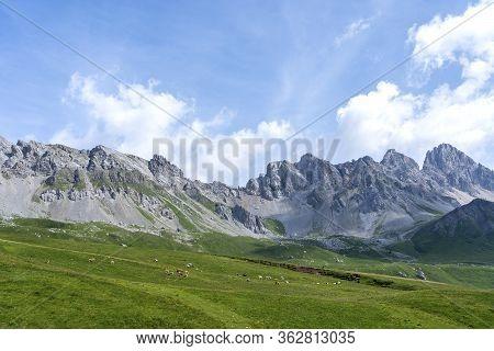 San Pellegrino Pass, Moena , Trentino Alto Adige, Alps, Dolomites, Italy: Landscape At The San Pelle