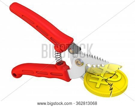 Pruner Cuts Coin With The Symbol Of The Russian Ruble. Isolated. 3d Illustration