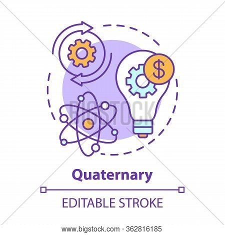 Quaternary Concept Icon. Knowledge Sector Idea Thin Line Illustration. Information-based Service. Re