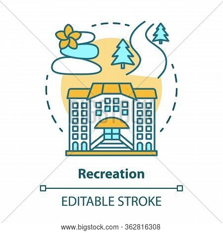 Recreation Concept Icon. Urban And Outdoors Recreation Services Idea Thin Line Illustration. Active