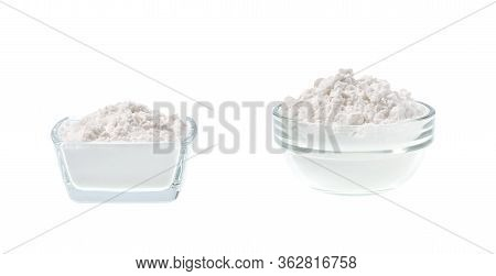 Glass Plate With Potato Starch Isolated On A White Background.