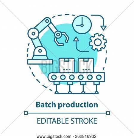 Batch Production Blue Concept Icon. Manufacturing Method Idea Thin Line Illustration. Mass Productio