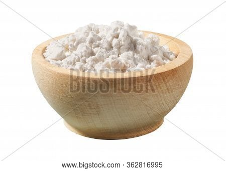 Wooden Plate With Potato Starch Isolated On A White Background.