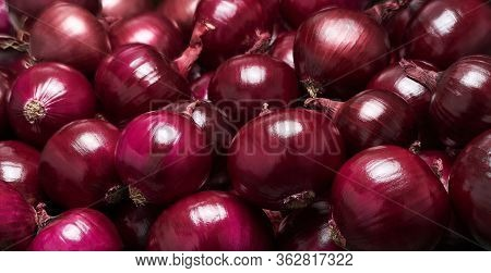 Onions Background. Food Background. Pile Of Onions. Red Onions Background Close Up.
