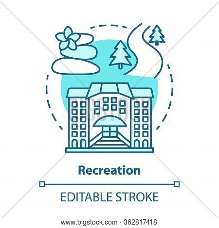 Recreation Blue Concept Icon. Urban And Outdoors Recreation Services Idea Thin Line Illustration. Ac
