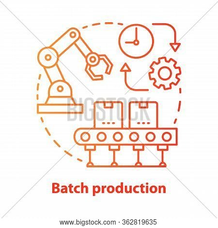 Batch Production Red Concept Icon. Manufacturing Method Idea Thin Line Illustration. Mass Production