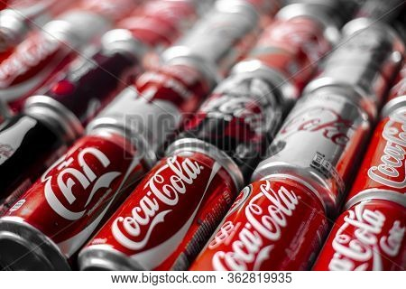 Atlanta, Georgia, Usa April 4, 2020: Russian Coca Cola Logo On Limited Edition Can On Background Of