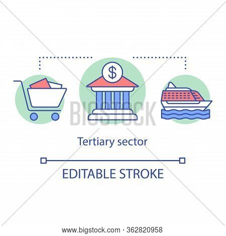 Tertiary Sector Concept Icon. Business Produce Services Idea Thin Line Illustration. Customer Servic