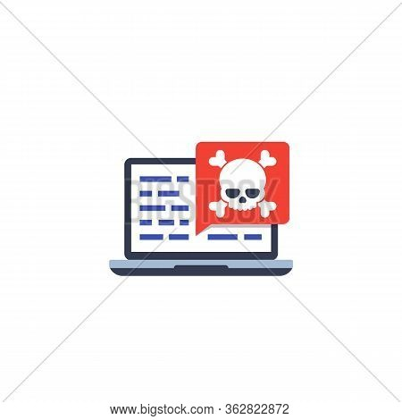 Malware, Security Threat In Code, Vector Icon, Eps 10 File, Easy To Edit