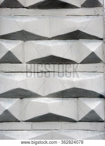 White Textured Faceted Wall Of The House With Shadows