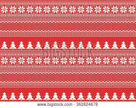 Winter Holiday Pixel Pattern With Christmas Trees. Traditional Nordic Seamless Striped Ornament. Sch
