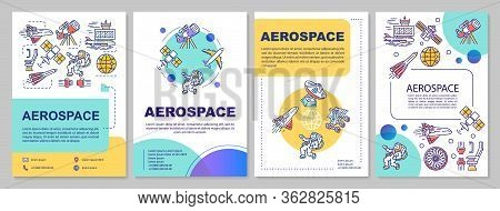 Aerospace Industry Template Layout. Flyer, Booklet, Leaflet Print Design With Linear Illustrations.