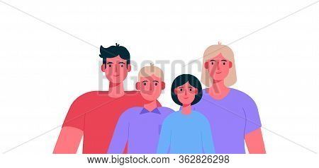 Big Happy Family Portrait. Father, Mother, Son And Daughter Together. Vector Illustration In A Flat