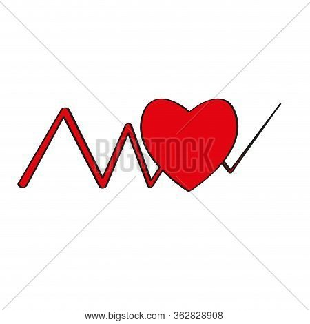 Electrocardiogram In A Heart Icon- Vector Illustration