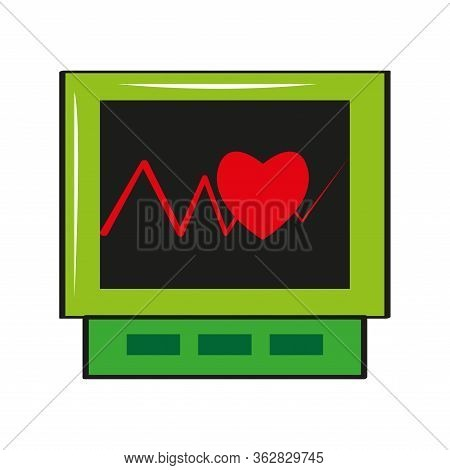Isolated Electrocardiogram In A Screen Icon - Vector Illustration
