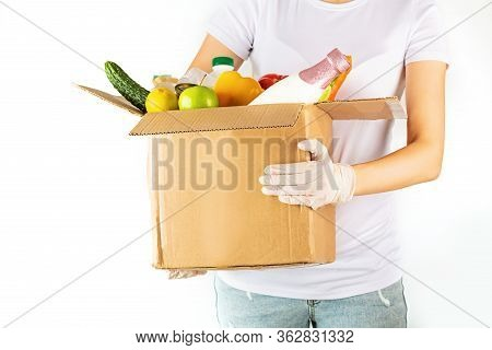 Donation Box With Various Smart Food On White Background With Copy Space. Mockup. Food Donations Or