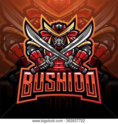 Bushido Esport Mascot Logo Design With Text