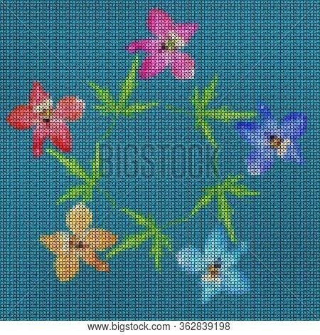 Illustration. Cross-stitch. Delphinium, Larkspur Flowers. Texture Of Flowers. Floral Background, Col