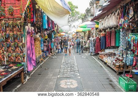 Bali, Indonesia : 14 July 2018 : View Of Traditional Souvenir In Ubud Market An Iconic Tourist Shopp