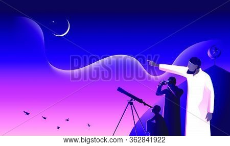 Ramadan Mubarak, Muslim Searches At Sky With Binocular For The New Moon (hilal) That Signals The Sta