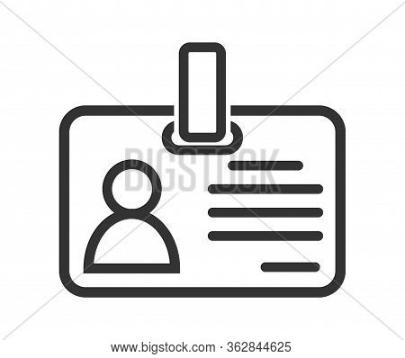 Simple Vector Icon Of A Badge Or Id Card. Simple Stock Design Isolated On A White Background For Web